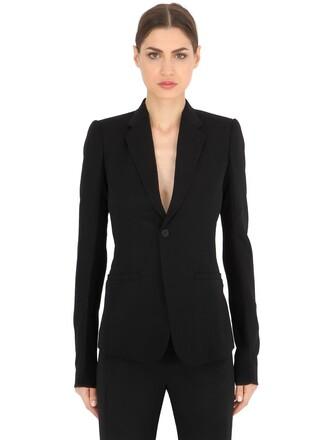 blazer long mesh wool black jacket