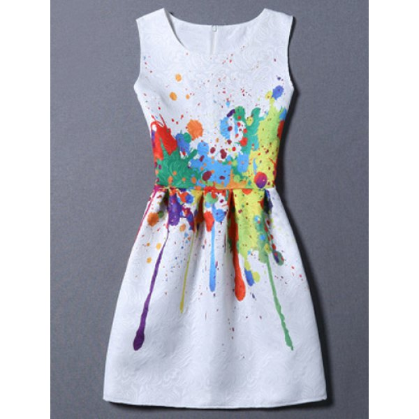 Sweet Colorful Print Round Neck Women's Dress