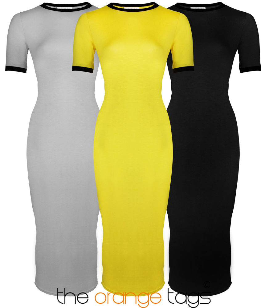 NEW WOMENS LADIES SHORT SLEEVE STRETCH PLAIN BODYCON MIDI MAXI DRESS 8-14 | eBay