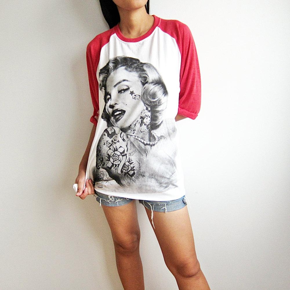 Marilyn monroe shirt american actress sex symbol basball t shirts raglan long sleeve men women tshirt unisex size s m l xl