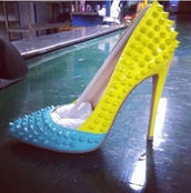 shoes,baby blue and yellow,baby blue and yellow high heels,baby blue and yellow pumps,high heel pumps,high heels,pumps