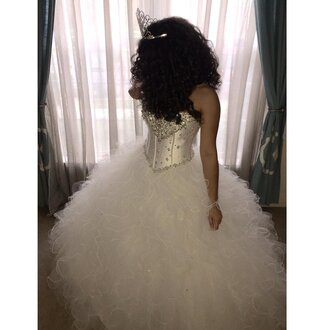 dress sweet 16 white dress clothes tiara fluffy ball gown dress gown sweet 16 dresses