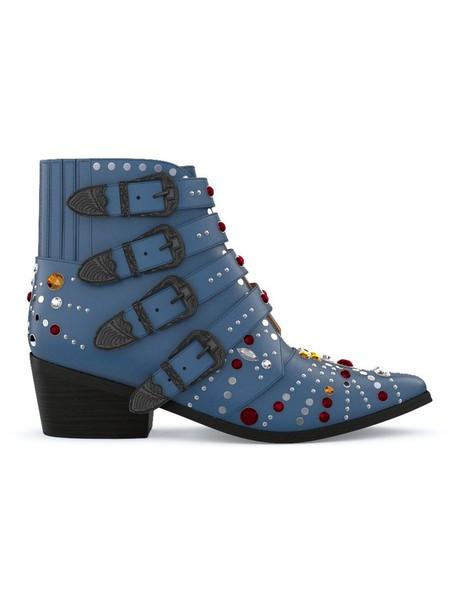women leather blue shoes