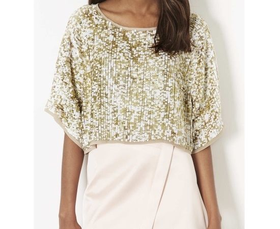 TOPSHOP Gold Sequin Embellished Kimono Cropped Blouse Top Size 6 8 10 12 | eBay