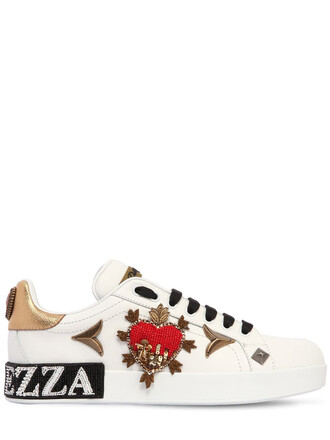embellished sneakers leather gold white shoes