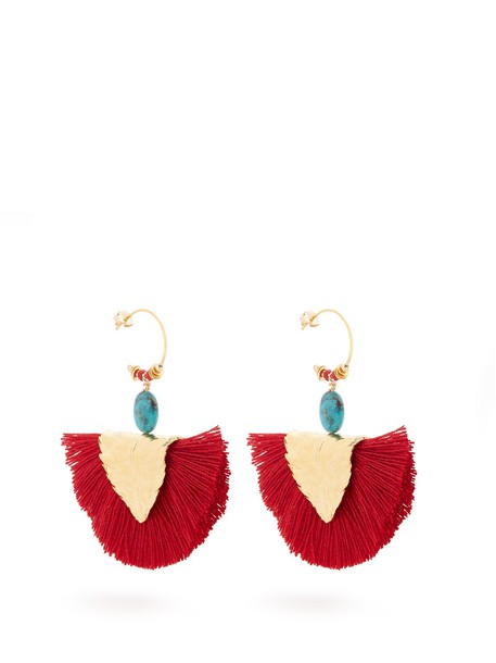 ELISE TSIKIS tassel earrings red jewels