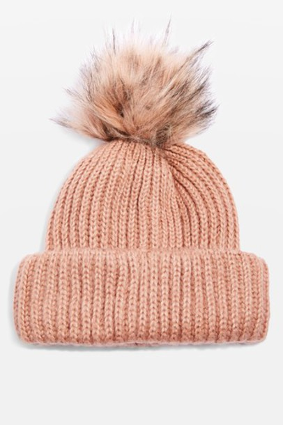 Topshop fur faux fur hat beanie pom pom beanie nude