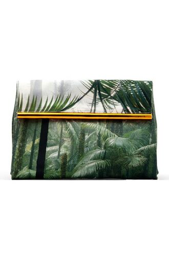 bag dries van noten bag printed bag tropical clutch green bag