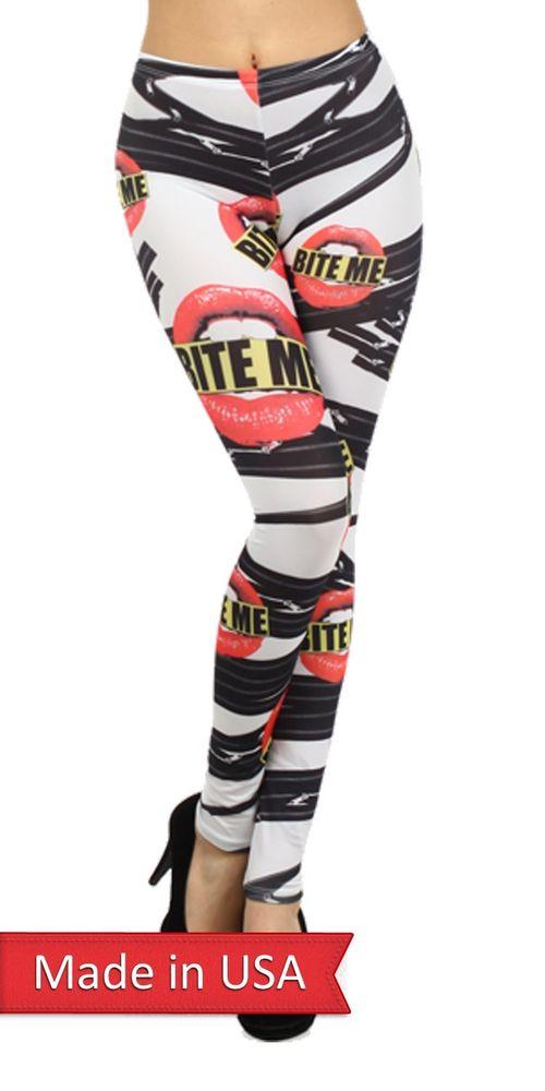 Women Bite Me Sexy Lips Mouth Goth Emo Zipper Print Leggings Tights Pants USA