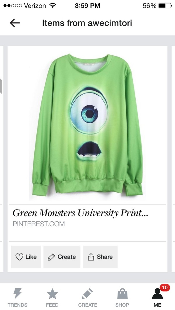 shirt green jumper monsters inc mike