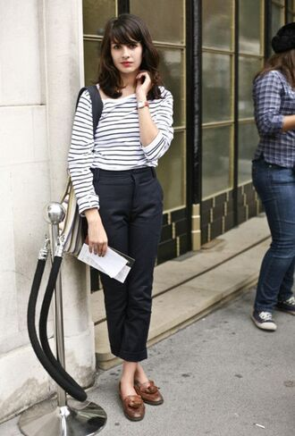 t-shirt black trousers brown loafers leather loafers loafers striped t-shirt black striped t-shirt french girl style
