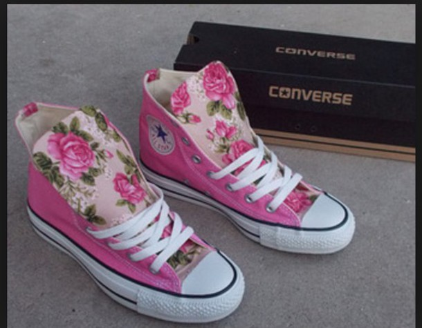 shoes, converse, trainers, girls sneakers, floral shoes
