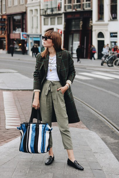 coat tumblr green coat plaid plaid coat pants khaki khaki pants shoes loafers bag stripes t-shirt sunglasses