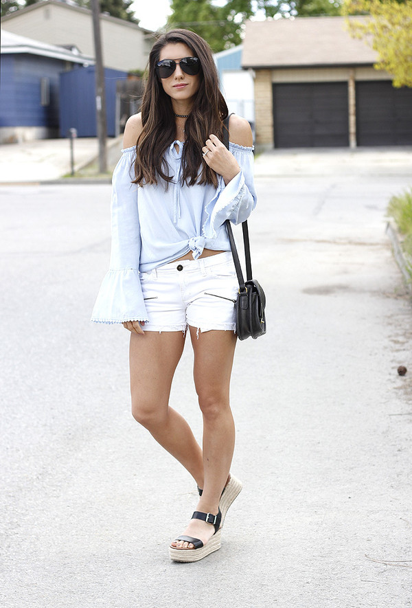 seekingsunshine blogger top shorts sunglasses shoes bag shoulder bag blue shirt white shorts wedge sandals summer outfits