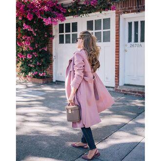 coat tumblr pink coat bag grey bag slingbacks flats pink shoes fall outfits