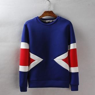 sweater sweatshirt pullover blue geometric print geometric