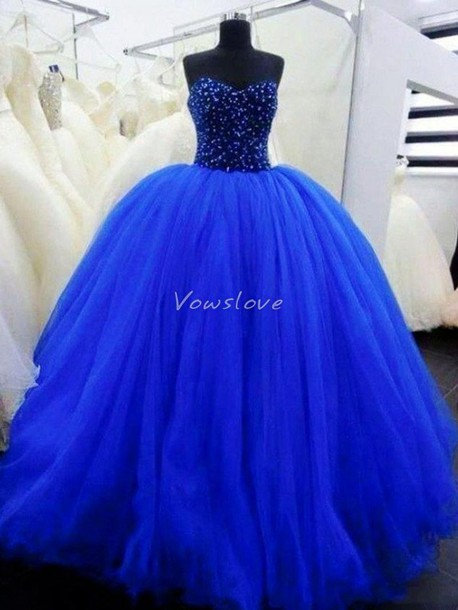 Princess Ball Gown Prom Dresses Royal Blue
