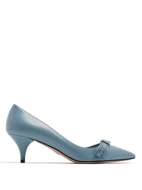 Prada heel bow embellished pumps leather light blue light blue shoes
