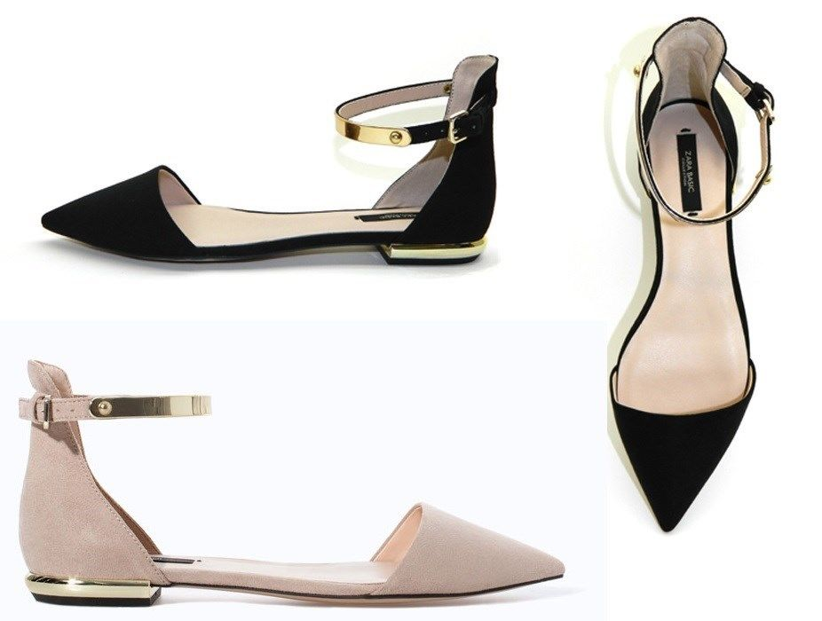 d5f593e42 Woman Zara POINTY Flat SHOES WITH ANKLE STRAP sandals metallic gold heels  ladies
