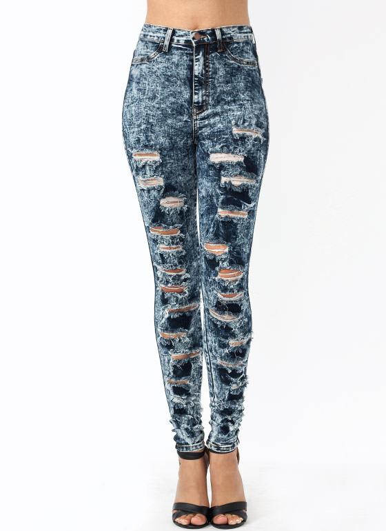 Waisted acid wash jeans dkblue ltblue