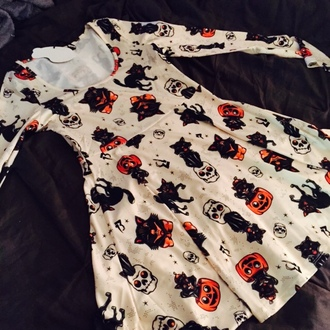 dress cats skater dress halloween pumpkins halloween skull pumpkin all over print