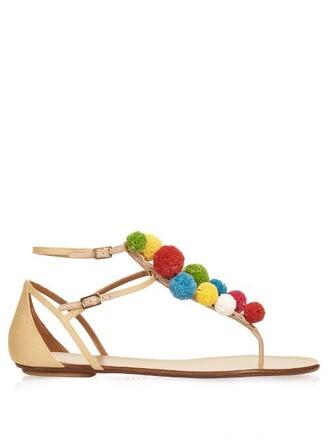 sandals flat sandals beige shoes
