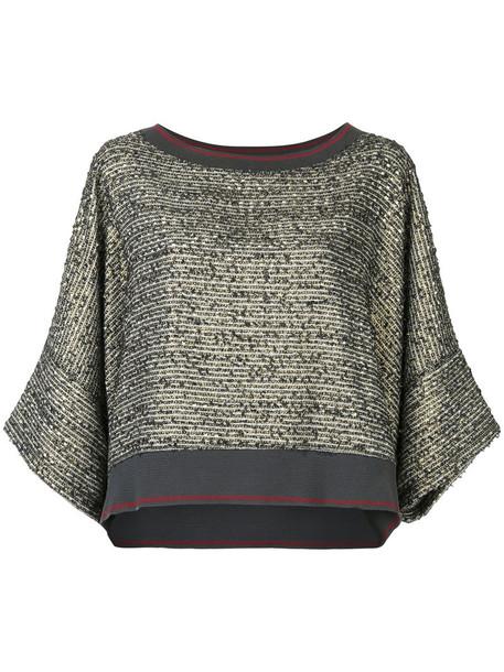 Zambesi top women cotton knit grey metallic