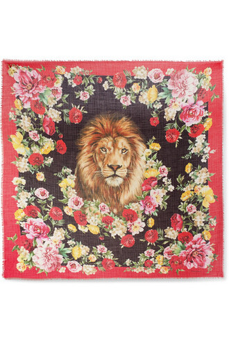 scarf floral print silk red