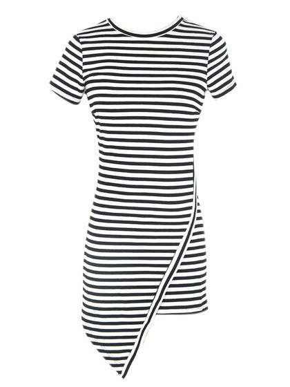 Belle striped asymetrical dress