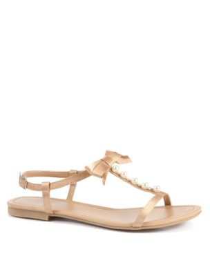 Oatmeal T Bar Sandal with Pearl Detail