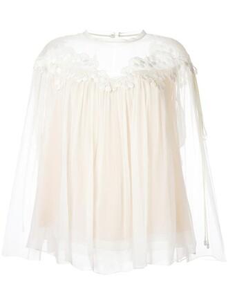blouse cherry women nude cotton silk top