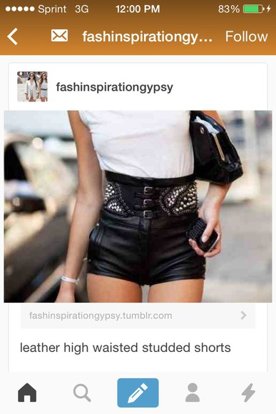 High waisted shorts leather shorts studded shorts