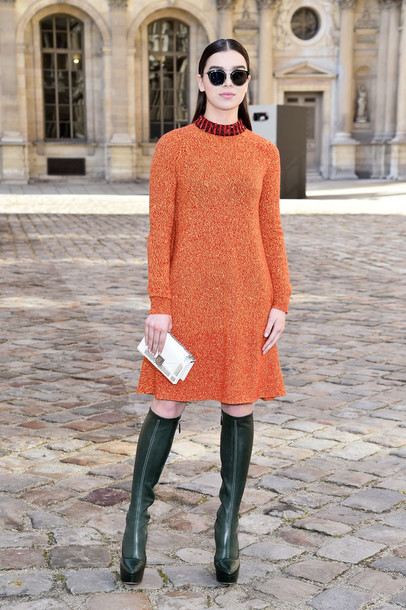 dress orange dress orange hailee steinfeld boots fashion week 2015