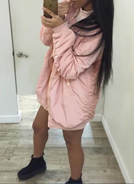 Coat Girly Pink Dusty Bomber Jacket Jacket