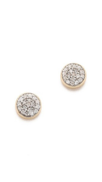 Adina Reyter Solid Pave Disc Earrings - Gold/Clear