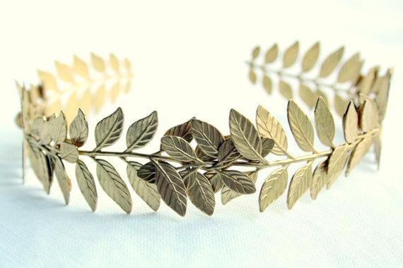 ATHENA Grecian Leaf Kopfstück aus rohen Messing von PompAndPlumage