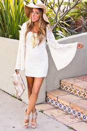 dress,summer hat,white bell sleeve dress,nude sandals,blogger,date outfit,sexy outfit