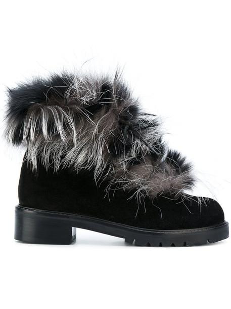 STUART WEITZMAN furry boots women leather black wool shoes