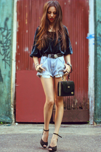 blue shorts high heels sandals leather black shoes shorts