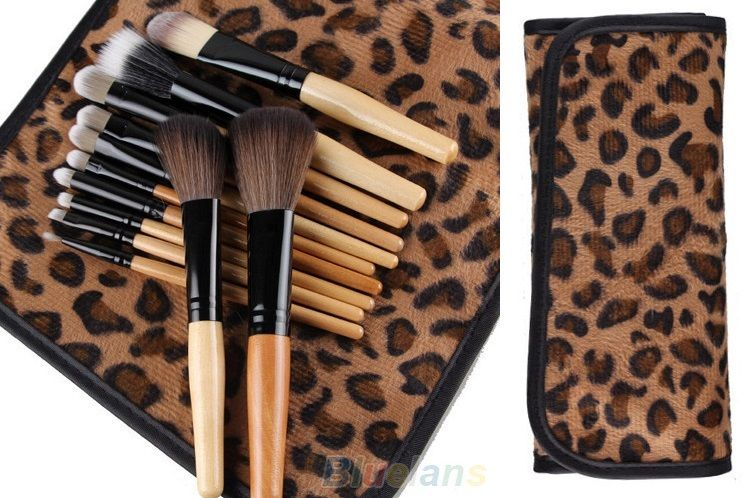 12 Pcs Professional Cosmetic Make up Brush Set Kit Foundation Blusher Bag Case