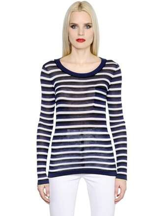 t-shirt shirt cotton silk navy white blue top