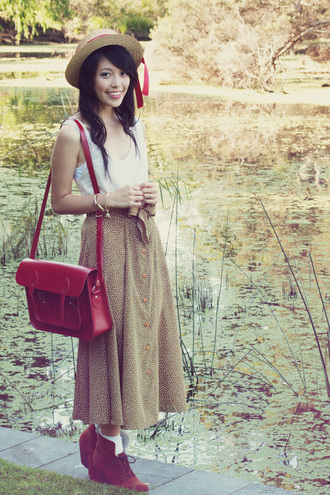 satchel bag bag kani brogue shoes red bag