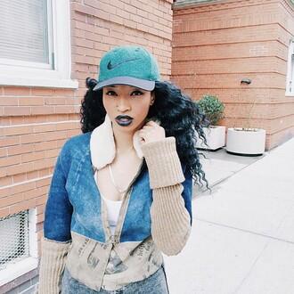 jacket blue jacket beige beige jacket nike hat nike snapback snapback casquette blue nike blue lipstick