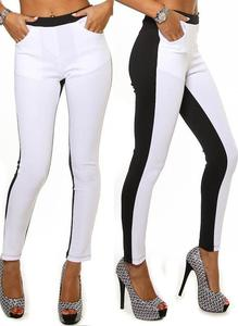 Sexy black white front pocket clubbing stretch pants tight leggings s m l