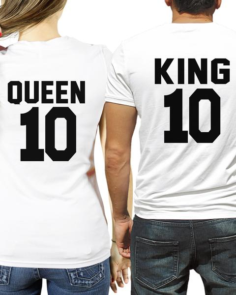 King and Queen couples t-shirts with custom number on the back
