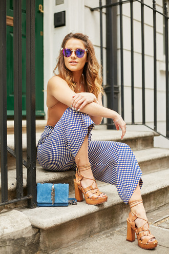 the little magpie blogger printed pants cropped pants gingham flare pants wedge sandals lace-up shoes suede bag ini bag blue bag cat eye mirrored sunglasses summer outfits block heel sandals