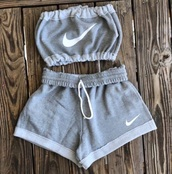 shorts,nike,crop tops,grey,set,tube top,jumpsuit,top,white,two-piece,athletic,nike shorts,bandeau,pants,grey shorts,shirt,grey nike,outfit,sleeveless crop top,tank top,romper,sportswear,adidas,nike sports bra,grey top