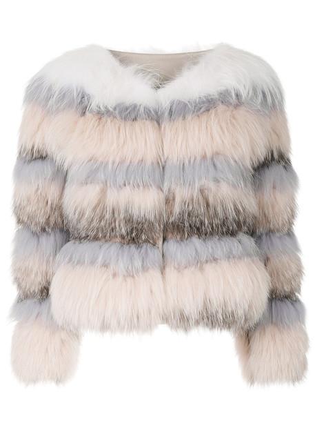 Cara Mila jacket fur fox women nude
