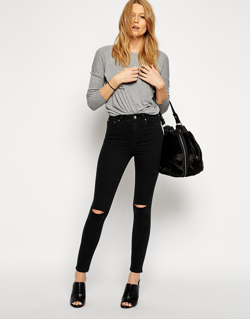 asos ridley skinny ankle grazer jeans in washed black with displaced knee rips at. Black Bedroom Furniture Sets. Home Design Ideas
