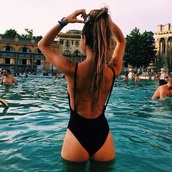 swimwear,bikini,alexis ren,summer,sexy,black,one piece swimsuit,hot,black swimwear,pool,ponytail,sexy swimsuit,backless